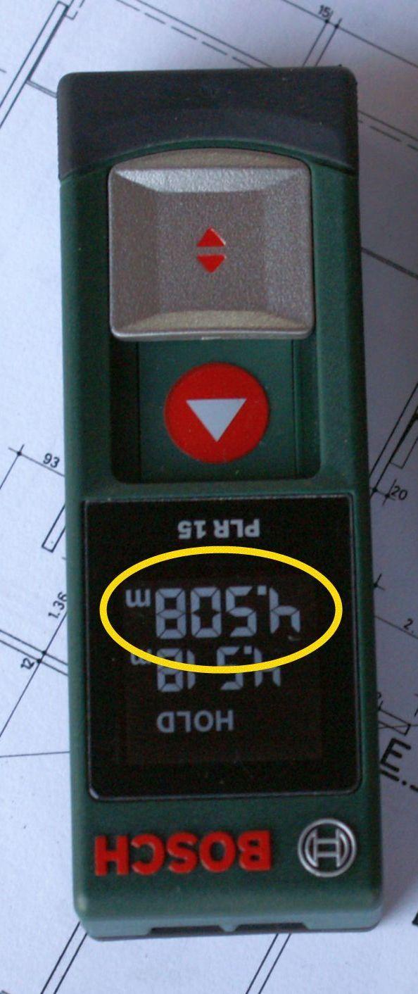 """Bosch PLR 15 kann """"BOSh"""" bzw. 4.508 m messen...   Daran hat die Konkurrenz zu kauen :-)"""