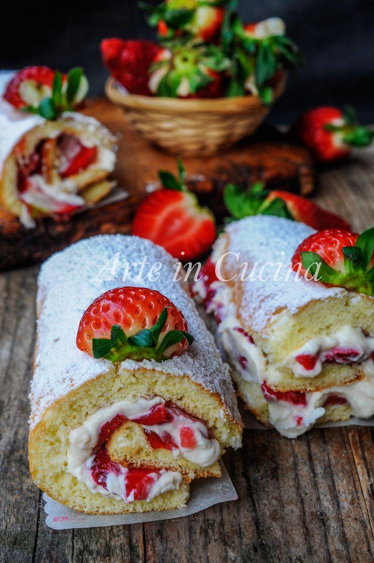 Rotolo biscotto fragole e mascarpone vickyart arte in cucina