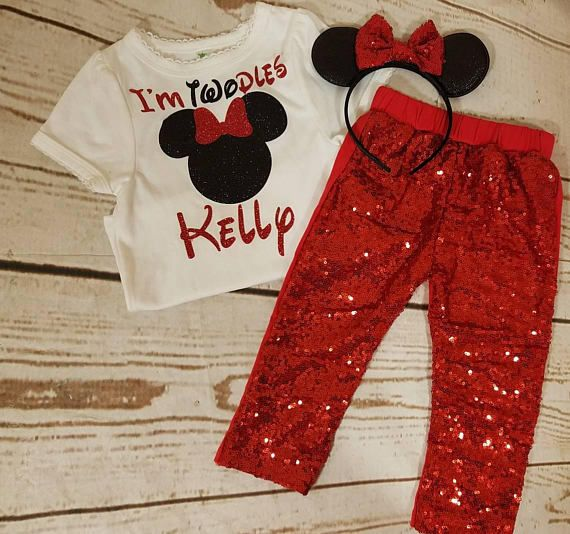 The turnaround time is 14 business days for the sequins pants!!!!!Minnie Mouse black and red birthday onesie or shirt. Matched with red sequins pants. The red sequins shorts are over the top shinny and extra sparkly. Waistband is not adjustable. A Minnie Mouse headband completes the set.