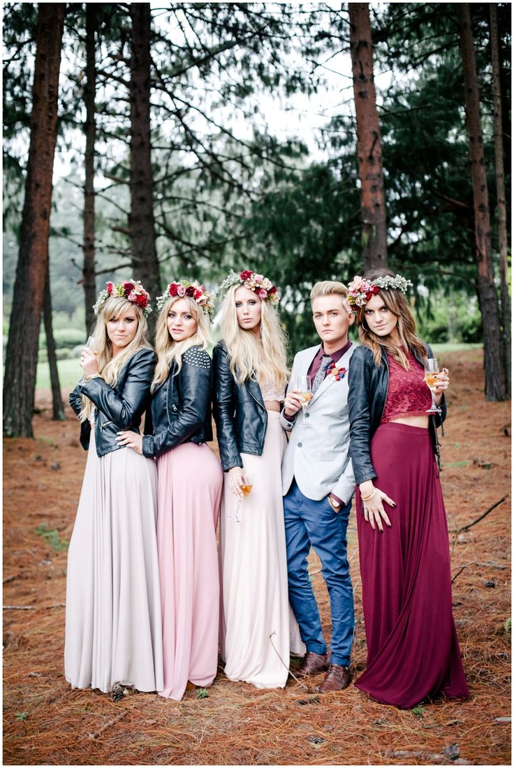 www.vanillaphotography.co.za | Durban wedding photographer Durban wedding venue, The Orchards, bridal shoot, bridesmaids, leather jackets, crop top & skirt, flower crowns, male bridesmaid, bridesman