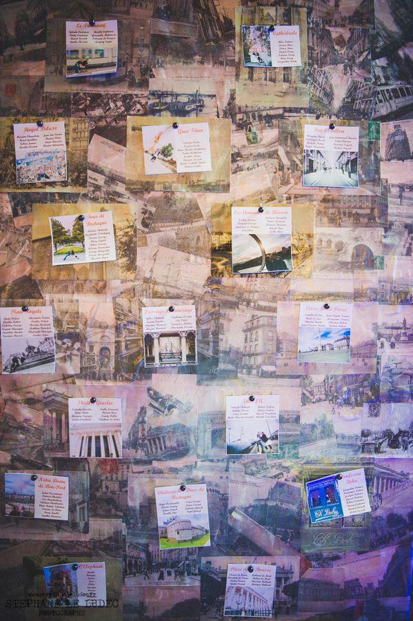 Plan de table avec les noms de lieu et vieilles photos de cartes postales désignant les lieux