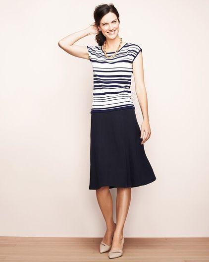 Silk linen skirt & silk cotton striped top #ColdwaterCreek