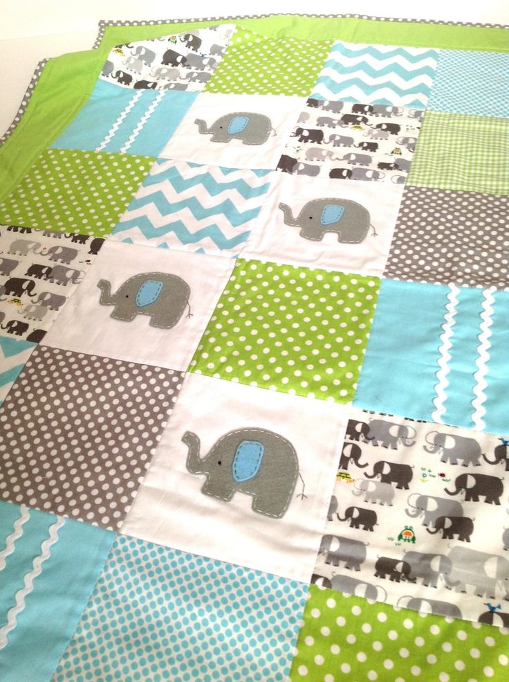 Elephant  Baby  Crib Quilt  in Aqua and Lime green....Made after you order. $170.00, via Etsy.