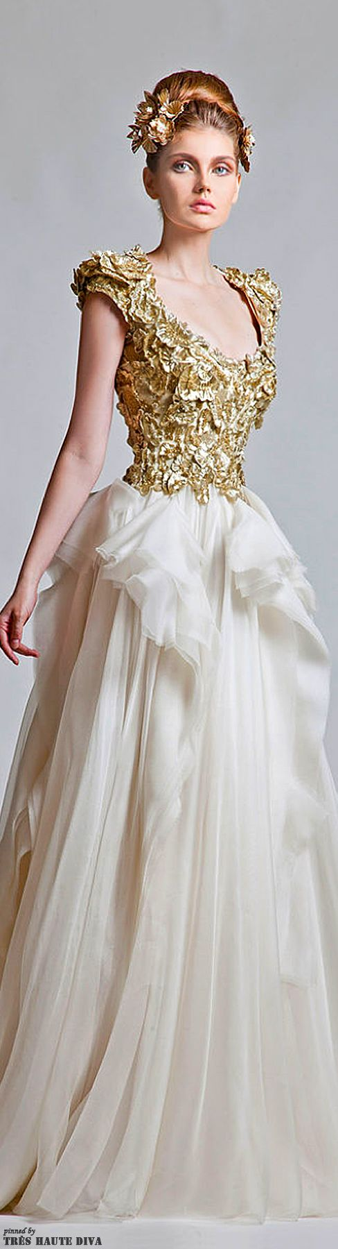 Krikor Jabotian Couture 2013 ~ textured, cap-sleeve, gold bodice with a delicate, asymettrically, 'half'-poofy skirt!  Love!!!