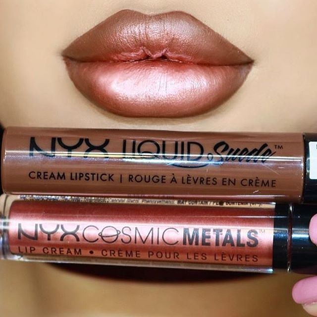 NYX Cosmetics Liquid Suede Cream Lipstick in 'Downtown Beauty' along with Cosmic Metals Lip Cream in 'Speed of Light'