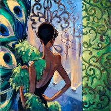 """""""Brazilian Carnival""""   The setting is Brazil during Carnival, and it is party time. This painting was painted by Trish as the theme for glamorous actress Eva Longoria's 2012 El Sueno de Esperanza 'The Dream of Hope' benefiting PADRES.     PADRES brings together children, families, healthcare professionals and community leaders to promote a comprehensive understanding of childhood cancer and other blood disorders, as well as, effective methods for their treatment."""