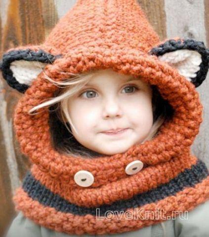 Детский капор с ушками в виде лисички / Вязание спицами / Вязание спицами для детей