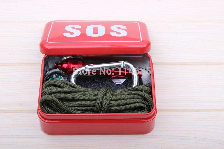 Открытый оборудования с paracord аварийного выживание box SOS Отдых Туризм инструменты, оборудование для Кемпинга Туризм видел/огонь