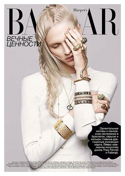 Yulia Lobova Shines in Serpentine Jewelry for Harpers Bazaar Ukraine March 2013 by Federica Putelli