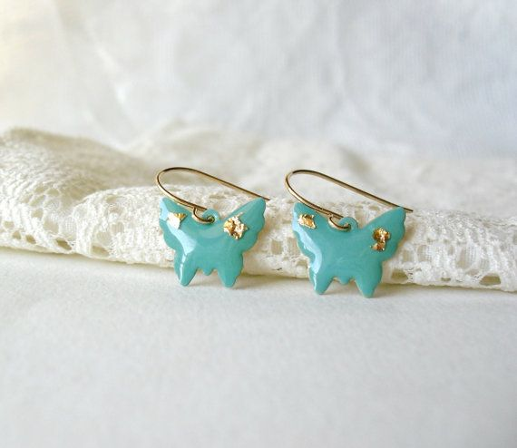 Mint green butterfly earrings Mint gold by DivineDecadance on Etsy