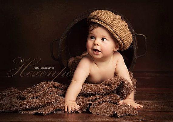 Newsboy Hat - Pageboy hat - newsie hat - baby boy photo prop - newborn boy prop via Etsy