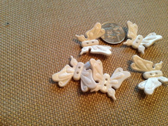 Vintage White butterfly butterflies buttons by oodlesofrandomstuff