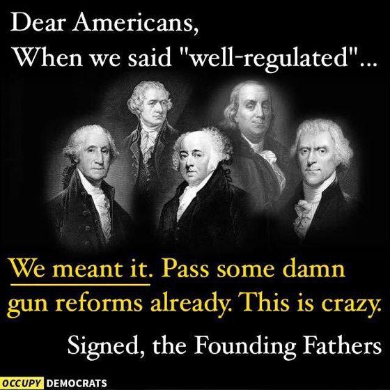 well-regulated militia, no less; gun violence; the whole second amendment