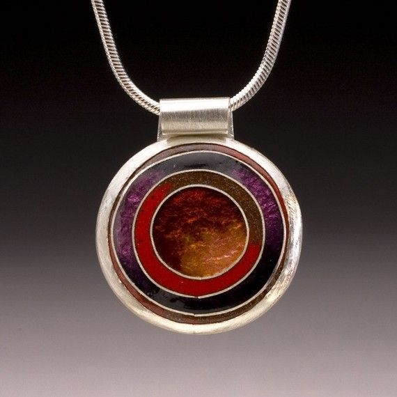 Enameled Round Pendant with Concentric Circle by jamersonstudios,