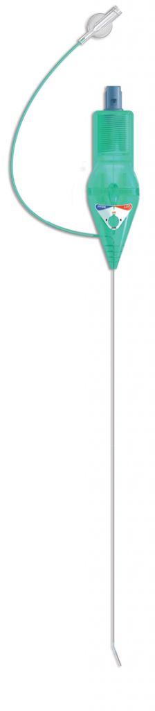 Radiofrecuencia intraepidural medianteabordaje transforaminal, utilizando cateter unipolar epidural provisto de una optimización de flujo de corriente (OFC) en el sistema de radiofrecuencia pulsada via intraforaminal.  El uso de Micro Steer, gracias a sus dimensiones reducidas y sin duda peculiar sistema activo de dirección de punta, permite alcanzar de manera rápida y precisa el ganglio dorsal de la raíz posterior la columna vertebral para llevar a cabo la neurolesion reversible.