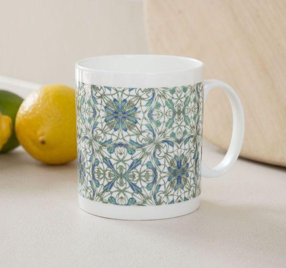 Hand printed mug fine bone china mug patterned mug by DoodlePippin