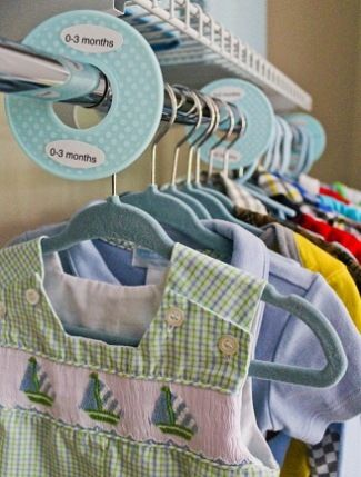This is a great idea for keeping baby's clothes organized. Pick up some closet organizers (or DIY your own with labels) to divide baby's clothes into different sizes so you can find what you're looking for quickly.