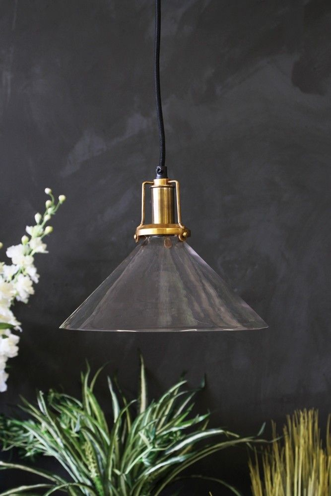 Clear glass cone shade with brass fittings from rockett st george ceiling pendantpendant lightsdecorative