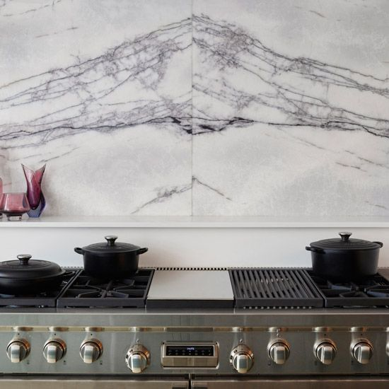 Choose marble to add classic elegance.  Kitchen from Martin Moore. #kitchens #kitchendesign. http://www.hglivingbeautifully.com/2015/02/27/splashback-ideas-for-stylish-kitchens/