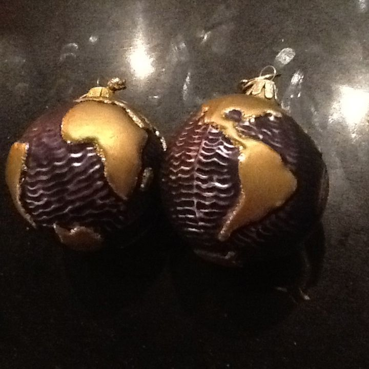 Globes bought in Christiania. Christmas marked Denmark