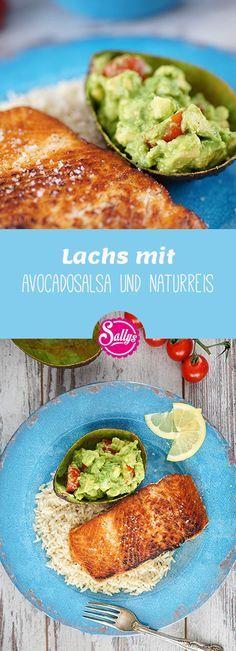 Hier ein schnelles 15 Minuten Rezept: Lachs mit Avocadosalsa und Naturreis! Gesu…