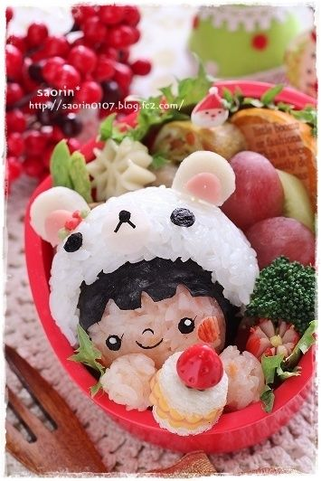 Kawaii Rilakkuma Bear Girl Kyaraben Bento Lunch :)