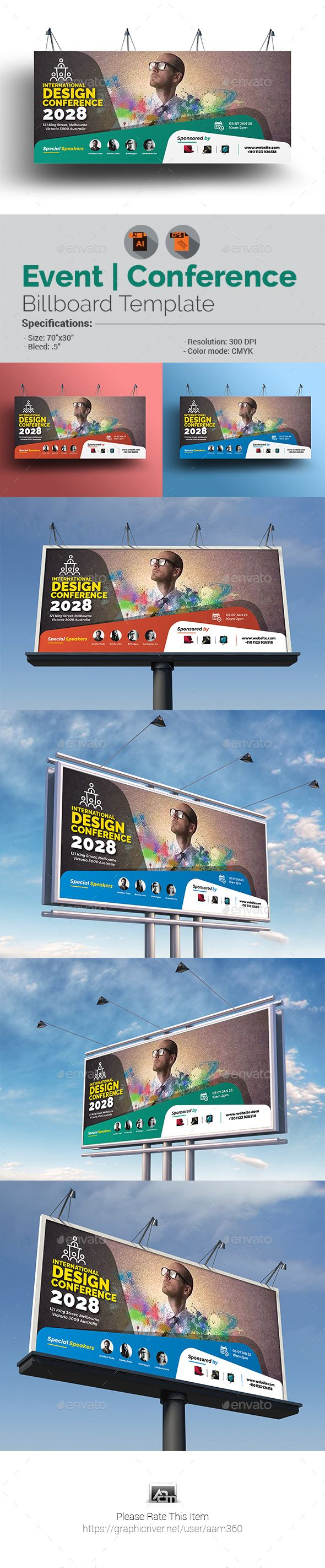conference event billboard template vector eps ai. Black Bedroom Furniture Sets. Home Design Ideas