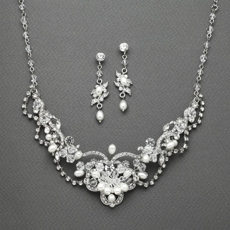 Lovely Freshwater Pearl and Crystal Wedding Jewelry Mariell  4061S - Affordable Elegance Bridal -