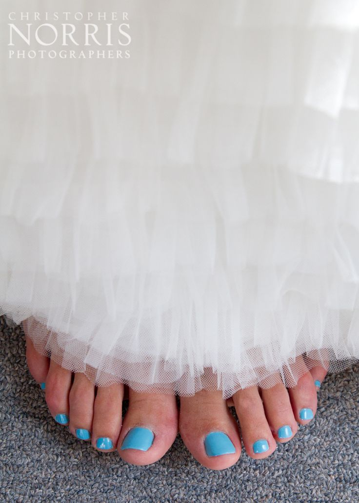 """Pretty blue toes gave this bride her """"something blue!""""  Wedding Photography by Christopher Norris Photographers - Cleveland"""