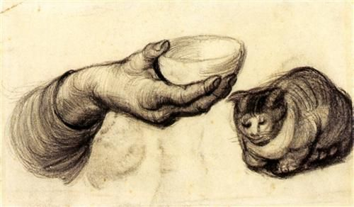 Hand with Bowl and a Cat - Vincent van Gogh