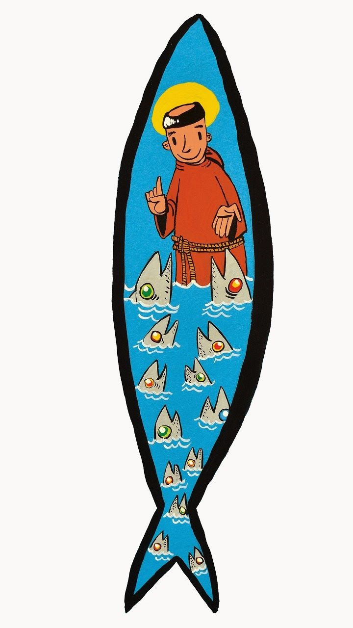The Sardines are the icon of June #Festivities in Lisbon. The 13th is Saint Antony's day, patron of Lisbon and the Festivities. Here he is preaching to the fish for no humans would listen to him... #Portugal #EnjoyPortugal