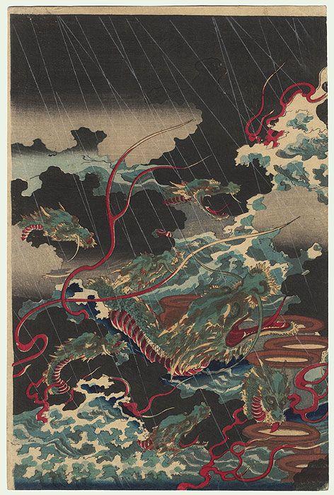 Susanoo no Mikoto Battling the Eight-headed Serpent Yamata no Orochi, 1870 by Chikanobu (1838 - 1912)