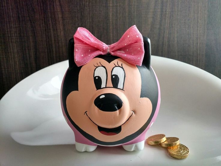 Porky alcancía pintada Minnie Mouse @porkysialcancias