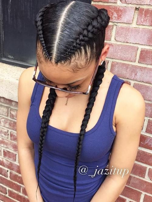 Two Black Feed In Braids