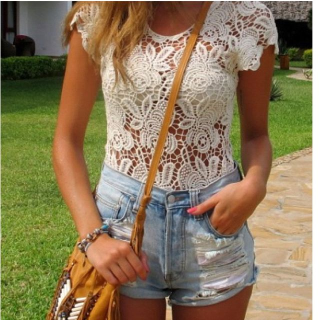 I want this shirt.: Summer Fashion, Lace Tops, Summer Looks, Summer Outfits, Denim Shorts, Jeans Shorts, Crochet Tops, Lace Shirts, High Waist Shorts