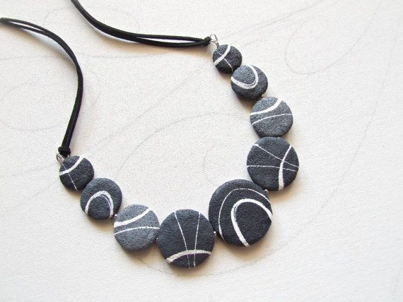 Beach stones necklace Grey beach rock Natural by Sognoametista