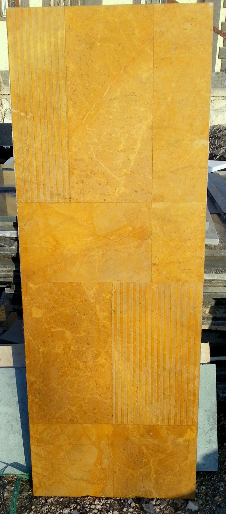 Lightweight stone panel.  Two different surface finish in a panel. Pattern set in a lightweight marble panel