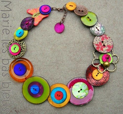 collier avec boutons - buttons jewel