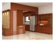 The Design here represents the work of Natural Veneers for the Kitchen Entrance Partition, Kitchen cum Dinning Area.