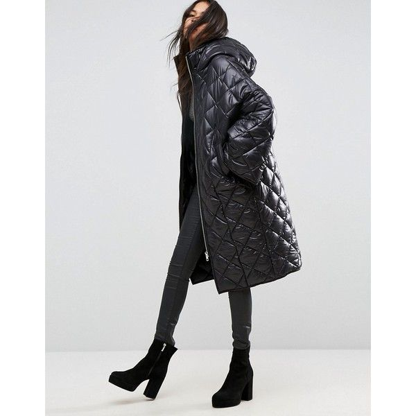 ASOS Puffer Coat in Diamond Quilt ($98) ❤ liked on Polyvore featuring outerwear, coats, black, funnel-neck coats, oversized puffer coat, shiny coat, asos coats and oversized hooded coat