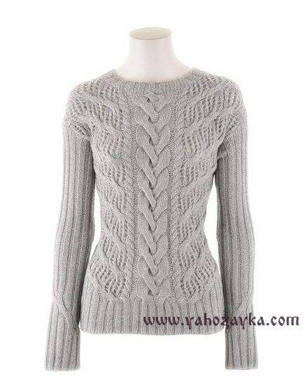 Пуловер с косой в центре переда. Модный пуловер спицами своими руками   Я Хозяйка