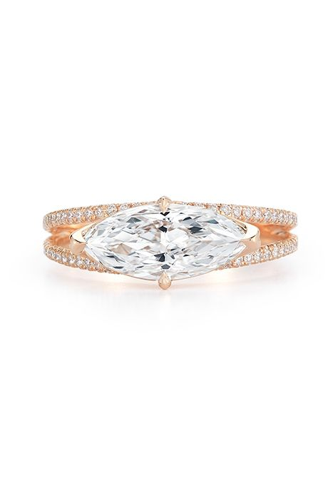 Brides.com: . East-West set marquise engagement ring in a split-shank rose gold setting, price upon request, Kwiat