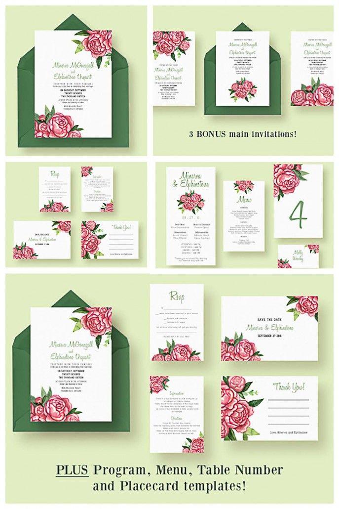 Description: Set Of 12 Editable Watercolor Wedding Invitations, Menu, Thank  You Cards With