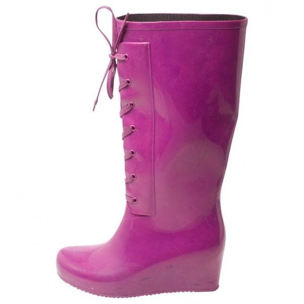 Pre-owned Yves Saint Laurent Purple Rubber Boots ($117) ❤ liked on Polyvore featuring shoes, boots, purple, women shoes boots, rubber boots, purple boots, wellies boots, laced boots and purple rain boots