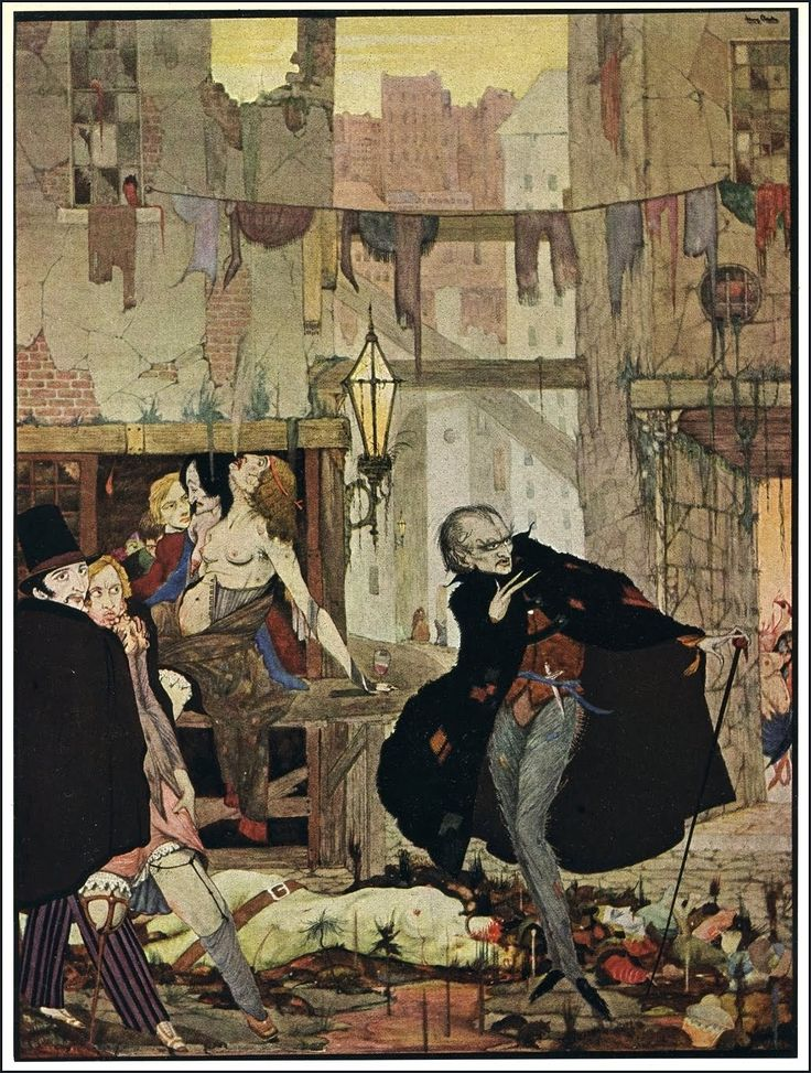 """Harry Clarke - Illustration for Tales of Mystery and Imagination by Edgar Allan Poe """"The Man of the Crowd"""" 1923"""