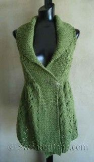 #111 Long Lace Shawl-Collar Vest PDF Knitting Pattern. I LIVE in vests during all the cooler morning. This one is nice and long, so can be worn with all of my tops of different lengths. SweaterBabeKnittingGiveaway