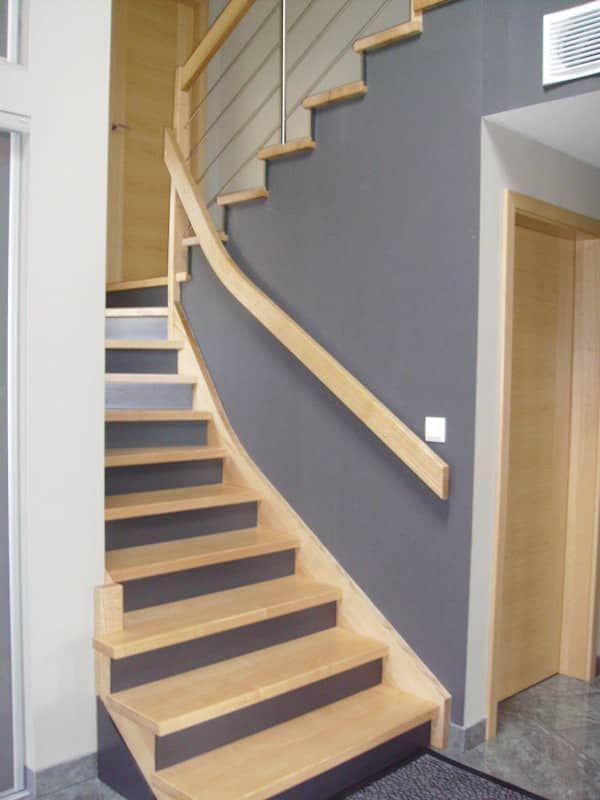 Habillage Escalier En Beton Avec Marches En Frene Vernis Naturel