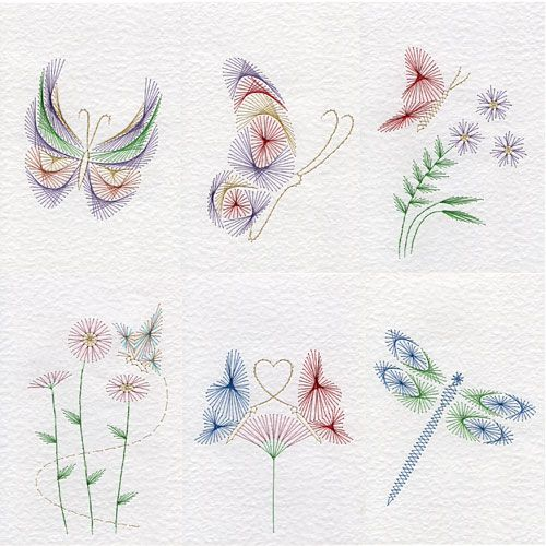 Value Pack No. 77: Butterflies | Flowers  patterns at Stitching Cards.