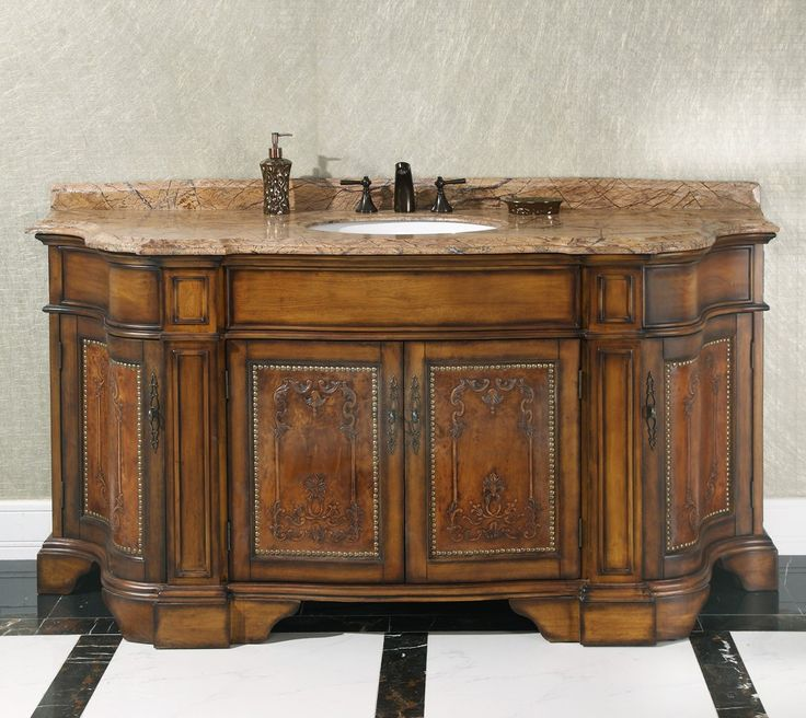Gallery For Photographers InFurniture Solid Thailand Oak Wood Bathroom Vanity With Rainforest Brown Marble Top And A Sink
