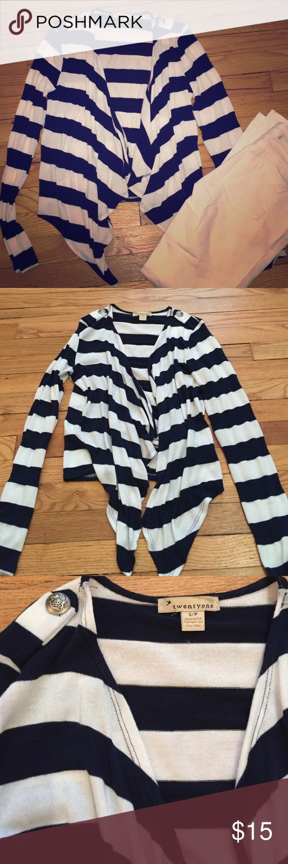F21 nautical cardigan Very cute, only worn once F21 nautical open front cardigan. Navy and white horizontal stripes. 2 silver decorative buttons on the shoulder Forever 21 Sweaters Cardigans